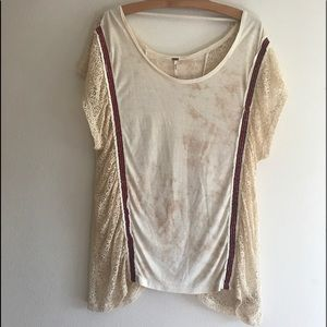 Free People Lace Side Boho Oversized Tee